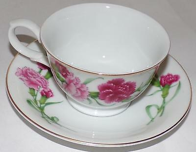 1991 Avon Blossoms of the Month Series January Carnation Cup Teacup & Saucer
