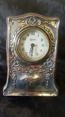 Solid Silver Fronted Clock 1908