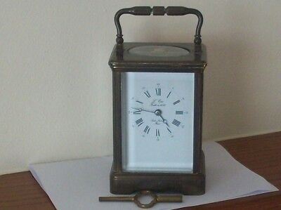 Heavy Vintage Brass Carriage Clock L' Epee France Working