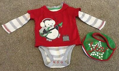 Boys Christmas Penguin Top From George 6-9 Months With Christmas Bib