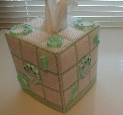 """Nursery Tissue Box Cover """"Handmade"""" with Party Favors, Baby Shower, Mint Green"""