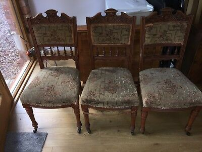Antique Oak Dining Chairs x 3 - Upcycling Project