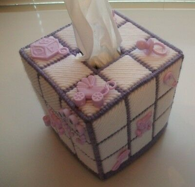 """Nursery Tissue Box Cover """"Handmade"""" with Party Favors, Lavender, Baby Shower"""