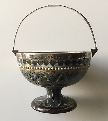 Royal Doulton Lambeth early 1878 exquisite bowl with silver rim and handle, rare