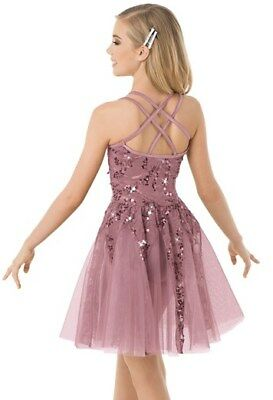 NEW Weissman Dance Costume 10115 Lyrical Ballet Sequin Cami Dress French Mauve S