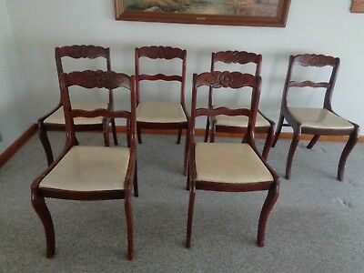 TELL CITY  Mahogany 6 Dining Side Chairs