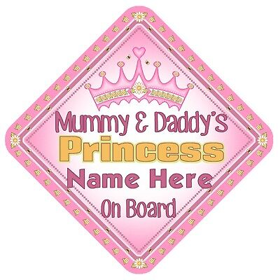 Mummy & Daddy's Princess Personalised Car Window Sign - Baby On Board