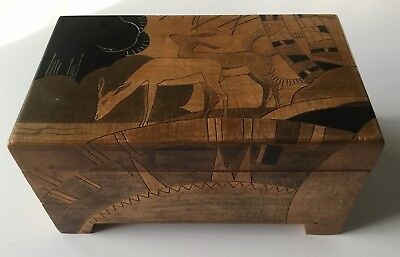 Art Deco Marquetry Wood Box, signed, beautiful design, British
