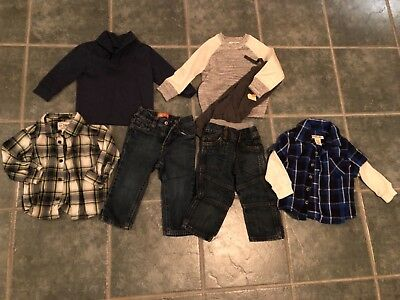 toddler boys 18 months winter clothing lot nice! jeans button up shirts outfits