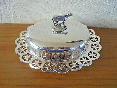 Pretty Silver Plated Butter Dish-Cow Finial