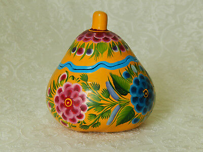 Vintage Mexican Olinala Folk Art Hand-Painted Floral Gourd Trinket Box Mexico