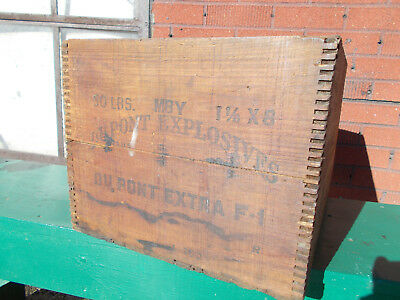VINTAGE  Dovetailed  Wood DuPont  EXPLOSIVES EXTRA F-1,  SHIPPING CRATE/BOX