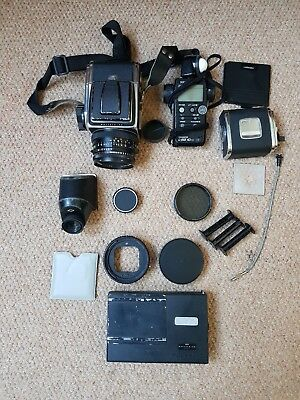 JOB LOT: Hasselblad 500C/M 120mm Medium Format Film Camera with 80mm lens Kit