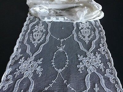 """Stunning Antique Lace~ Embroidery On Linen/netting ~ 70"""" X 15"""""""