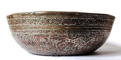 Antique Persian Safavid Engraved Tinned Copper Bowl 17th Century