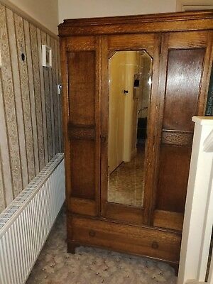 Antique Edwardian wardrobe with draw, mirror and keys