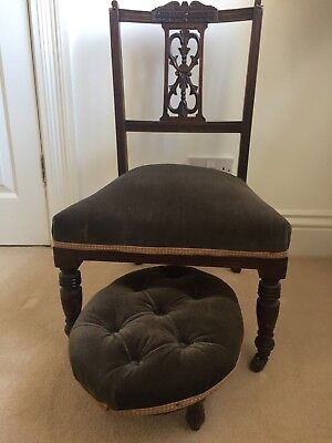 Antique chair and stool brown