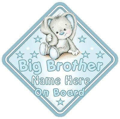 Rabbit Big Brother Personalised Car Window Sign - Baby On Board Child  Blue Boy