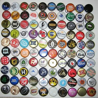 100+ ASSORTED BEER BOTTLE CAPS (100+ Different) Many Colors!!! A