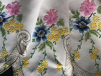 Gorgeous Vintage Linen Hand Embroidered Tablecloth ~ Anemones/roses/daisies