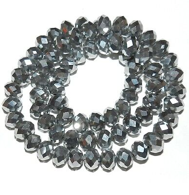 CR239 Silver Metallic 6mm Rondelle Faceted Cut Crystal Glass Beads 16""