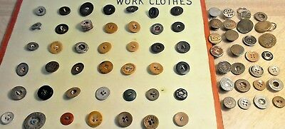 LOT OF 80 ANTIQUE & VTG VERBAL WORK CLOTHES BUTTONS mixed metal & plastic