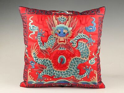 Red Vintage Chinese Silk Embroidered Pillowcase Decorated Dragon Sacred Mascot