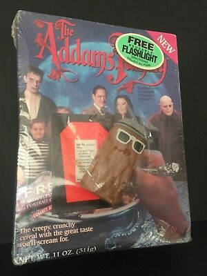 ☆ SEALED 1991 ADDAMS FAMILY Cereal Box COUSIN  IT flashlight Premium Ralston