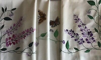 Beautiful Vintage Hand Embroidered Tablecloth ~ Wisteria/butterflies/lace