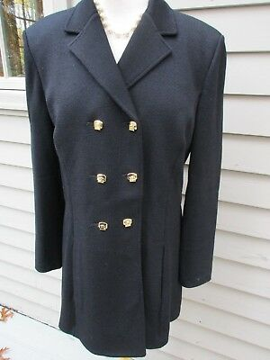 ST John Collection Marie Gray black knit double breasted blazer jacket coat 10