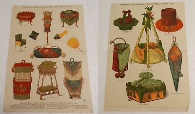 2 Antique Christmas Fancy Pattern Designs Whimsical Presents Prints 1886 & 1889
