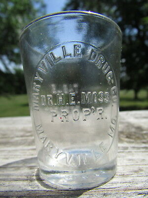 RARE Unlisted MARYVILLE, MO Druggist DOSE Glass H.E. MOSS Propr 1895-1900 ONLY !