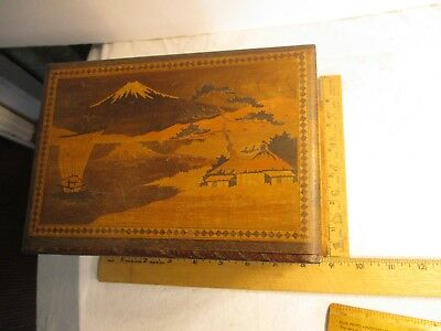 Vtg. Antique Japanese Inlaid Wood Puzzle Box -  Mt. Fuji Scene Floral Interior