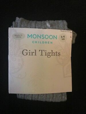 Monsoon Girls Metallic Silver Canle Tights. Bnip