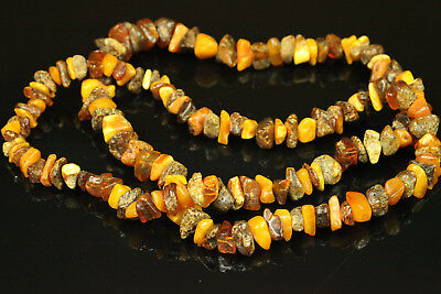 Natural OLD Antique 42.2g Butterscotch Egg Yolk Baltic Amber Stone Necklace B412
