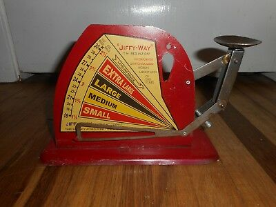 Antique Vintage JIFFY WAY OWATONNA MN EGG BALANCE WEIGHT SIZE POULTRY SCALE NICE