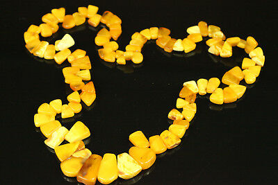 Natural OLD Antique 63.5g Butterscotch Egg Yolk Baltic Amber Stone Necklace B415