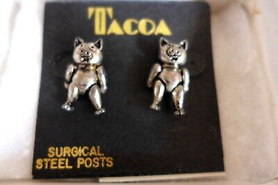 Vintage Pair Of Sterling Silver Pig  Stud  Earrings Movable Arms And Legs