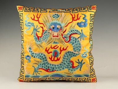 Vintage Silk Embroidered Pillowcase Decorated Dragon Sacred Mascot Collec Gifts