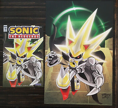 IDW Sonic the Hedgehog issue #10 with Super Neo Metal Sonic poster