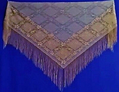 Stunning Antique Copper Victorian Style Chantilly Fringe Lace Shawl