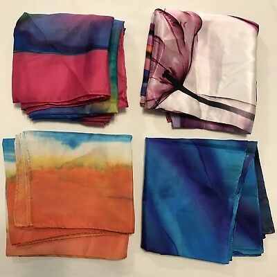 4 Scarves Square ALL 100% Silk Tie Dyed Hand Rolled Bright Flower Vtg Scarf Lot