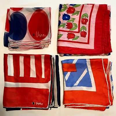 4 Scarves Square ALL 100% SILK Red Blue Geometric Vera Hand Rolled Scarf Lot vtg