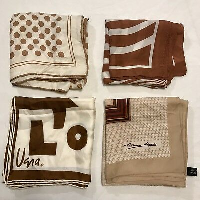 4 Scarves Square ALL 100% Silk Tan Brown Hand Rolled Vera E Aigner Vtg Scarf Lot