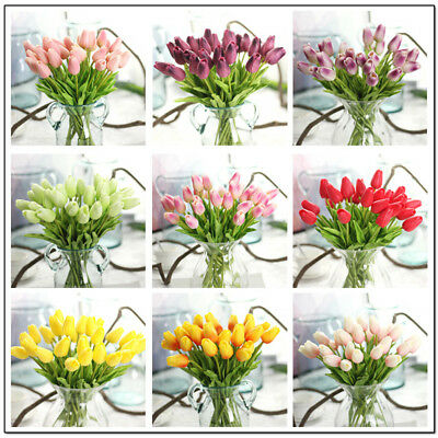 10 Pezzo Set Artificiale Fiori di Tulipani Finti Pu Wedding Bouquet Decorazione