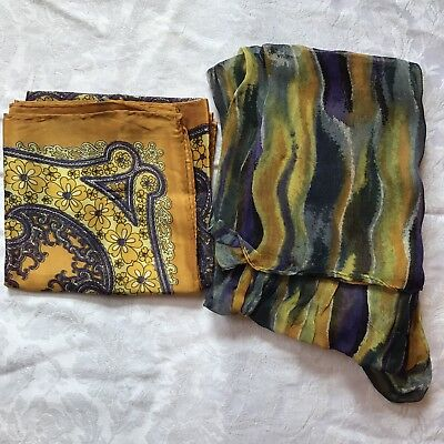 2 Vintage Scarves Gold Purple Yellow Square Oblong Scarf Lot