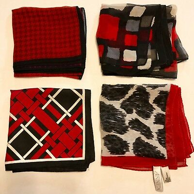 4 Scarves Square ALL 100% SILK Red Black Geometric Sheer Rolled Vtg Scarf Lot