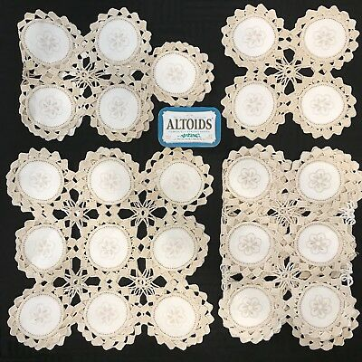 Lot of 4 Matching Set Antique VTG Handmade Crocheted Embroidered Doilies Cotton