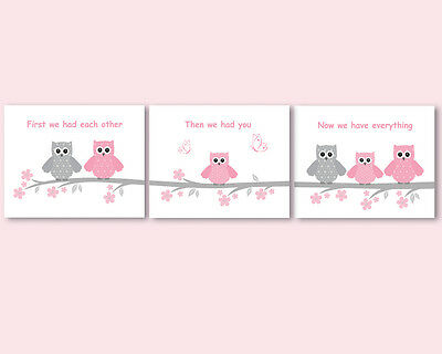 Set of 3 prints, baby girl shower gift, nursery art - owls family, pink and gray