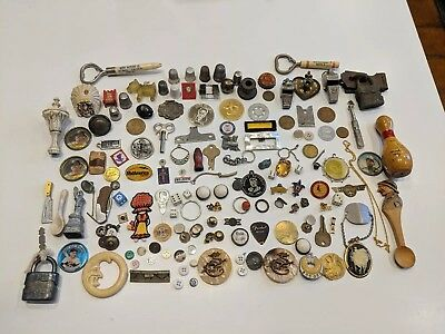 JUNK DRAWER LOT old vintage tokens, padlocks,pins,buttons,etc.
